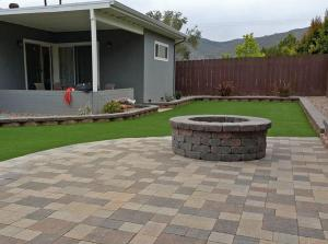 OmegaTurf brickwork patio
